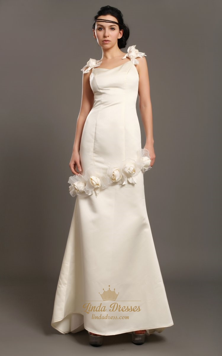 Ivory sheath satin v neck wedding dresses with floral for Ivory silk wedding dresses