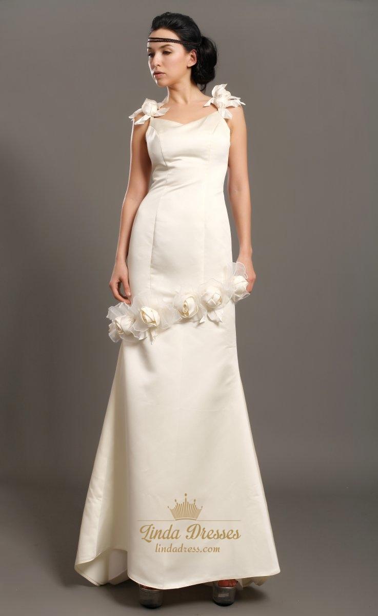 Ivory Sheath Satin V Neck Wedding Dresses With Floral Embellishments