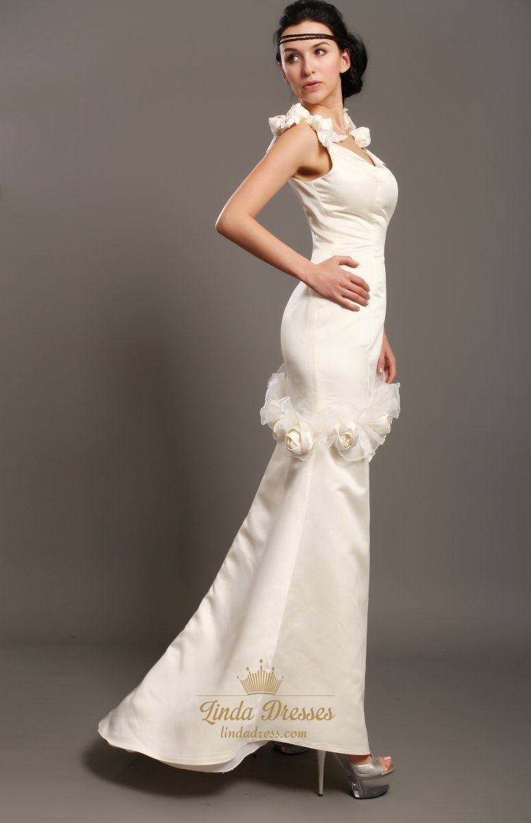 Ivory sheath satin v neck wedding dresses with floral for V neck satin wedding dress