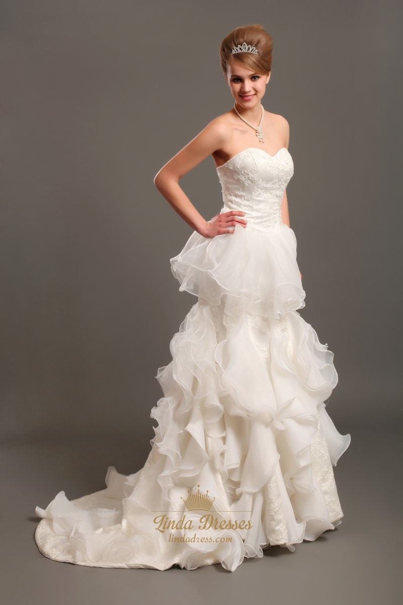 Ivory Sweetheart Lace Bodice Organza Wedding Dress With Ruffled Skirt White Strapless Drop Waist