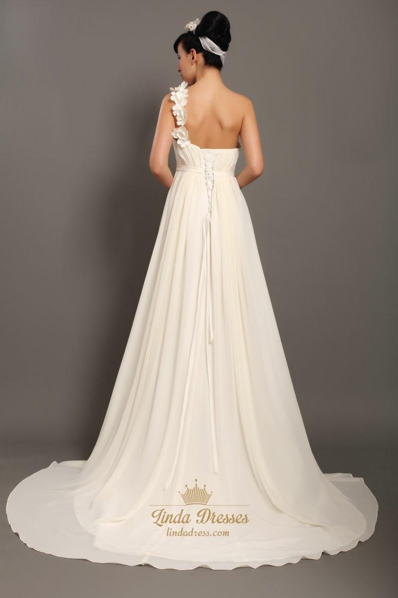 Ivory one shoulder flower strap slim a line beach wedding for Wedding dresses one strap
