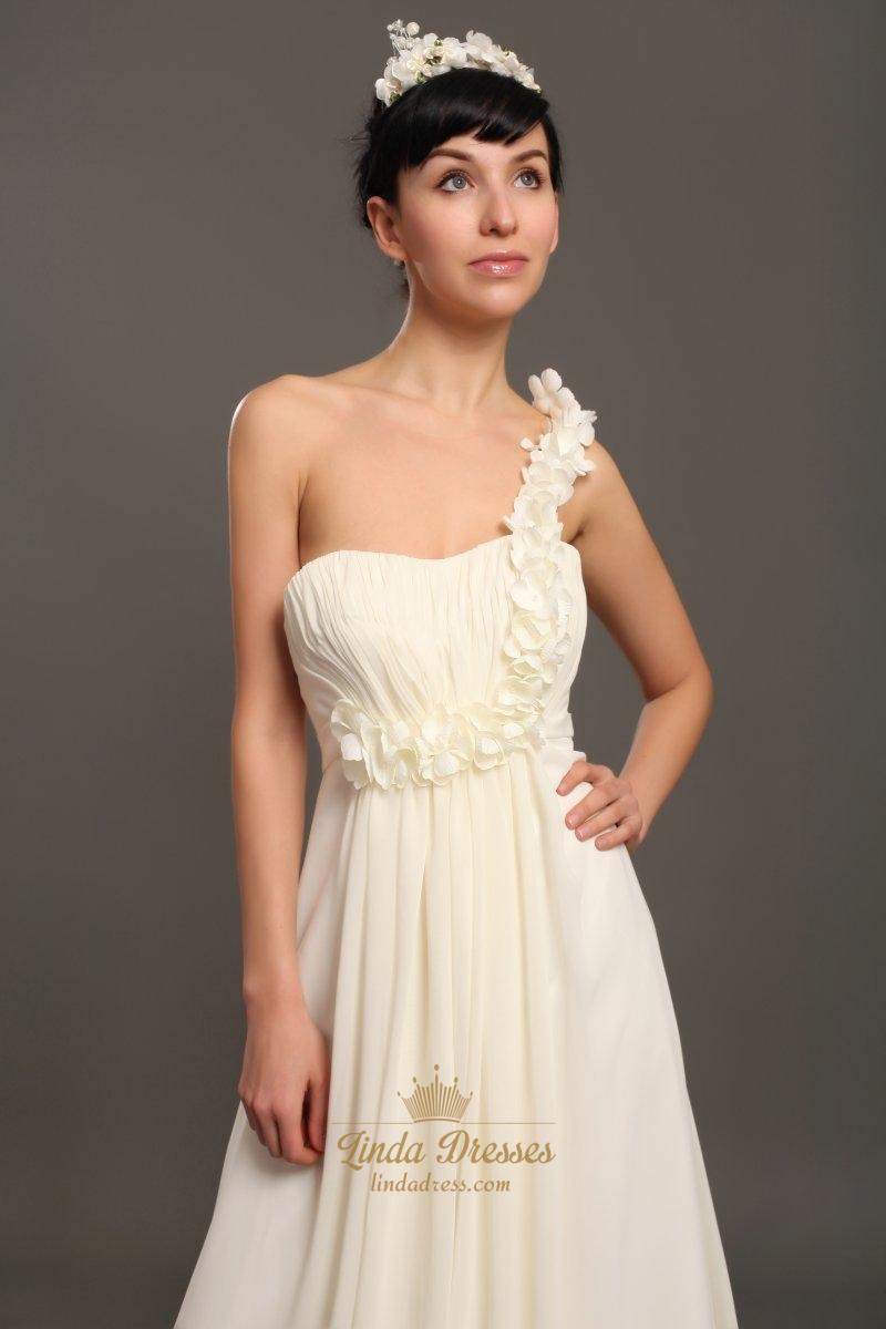 Ivory one shoulder flower strap slim a line beach wedding for One shoulder beach wedding dress