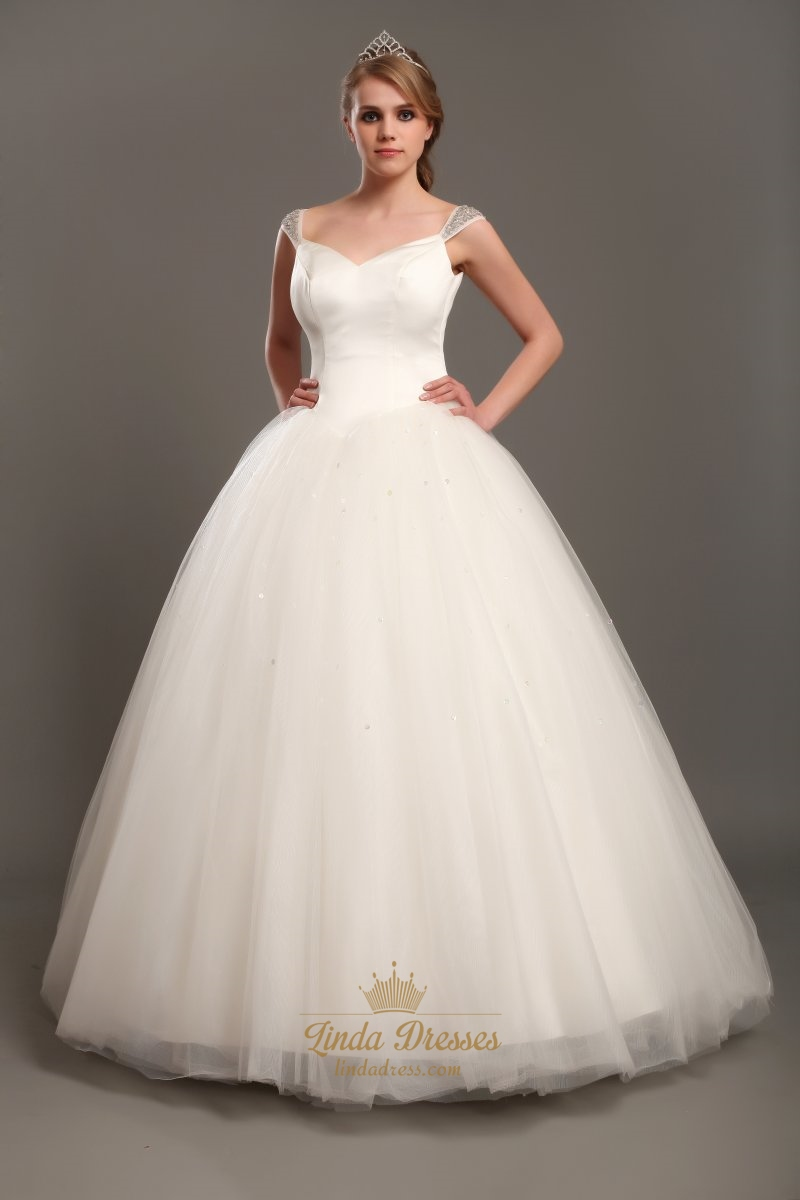 Elegant ivory ball gown v neck tulle wedding dresses with for Elegant ball gown wedding dresses