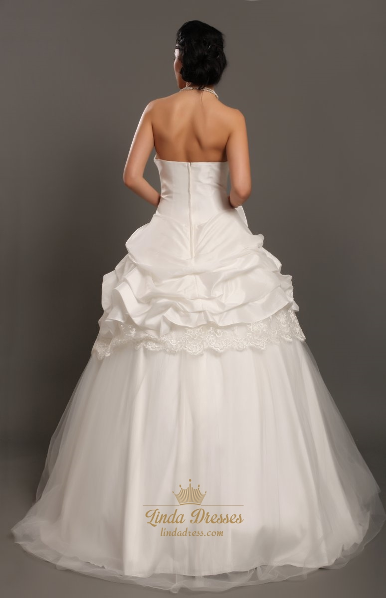 Ivory taffeta strapless lace embellishment wedding dress for Strapless taffeta wedding dress