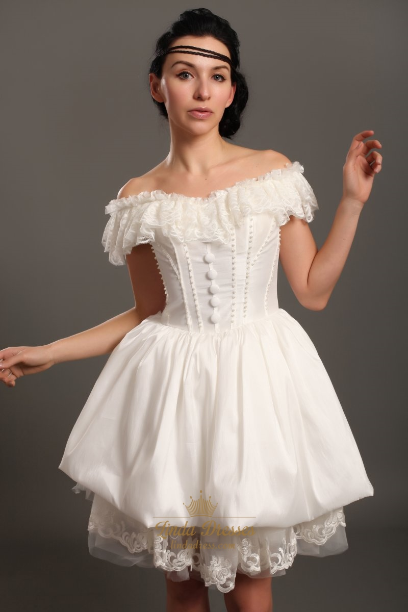 Ivory taffeta off the shoulder short wedding dress with for Short beaded wedding dress