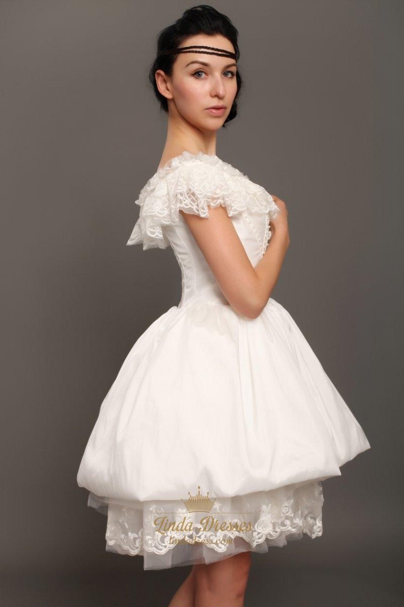 Ivory taffeta off the shoulder short wedding dress with for Off the shoulder taffeta wedding dress