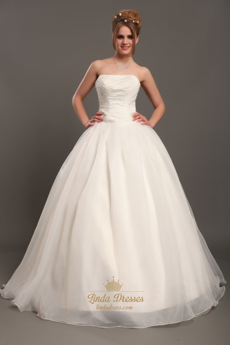 Ivory Strapless Organza Ball Gown Wedding Dresses With Beaded Bodice ...