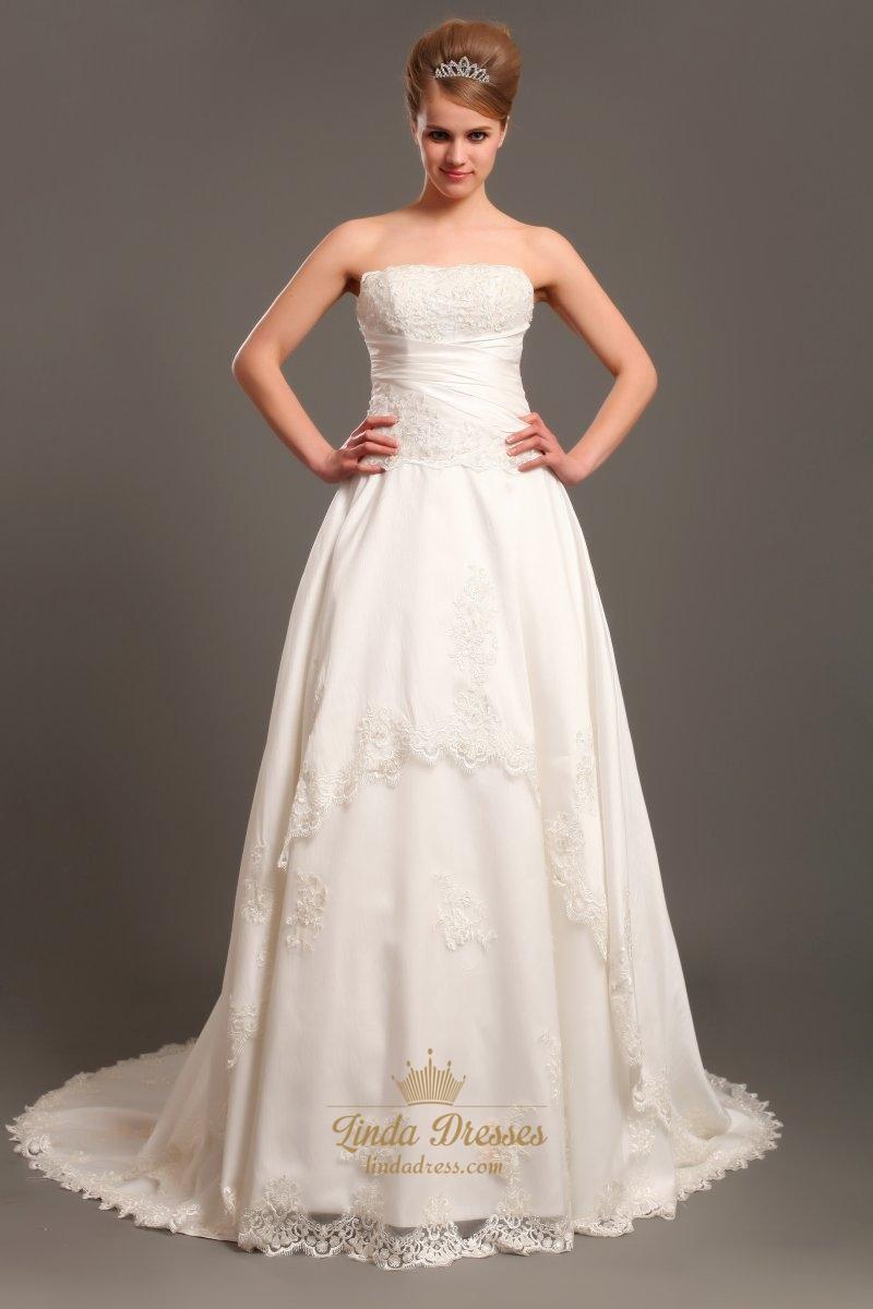 Ivory a line strapless chapel train taffeta applique for A line ivory wedding dress