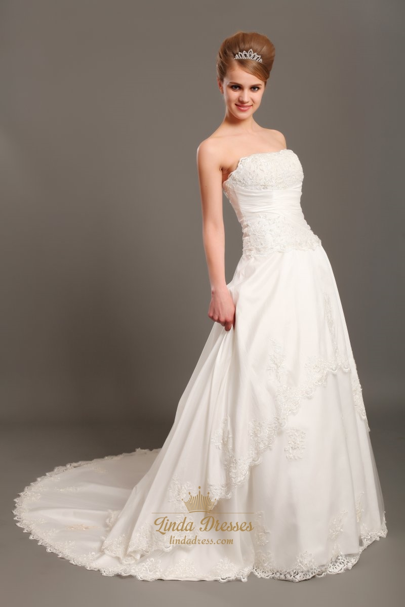 Ivory a line strapless chapel train taffeta applique for Chapel train wedding dress