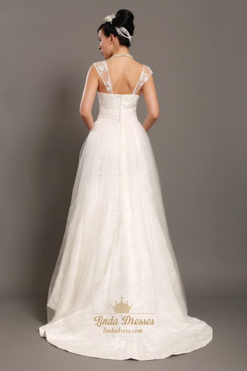 Elegant ivory lace straps a line wedding dresses with for Adding straps to wedding dress