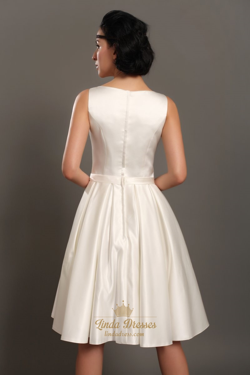 Ivory satin sleeveless knee length wedding dresses with for Ivory silk wedding dresses