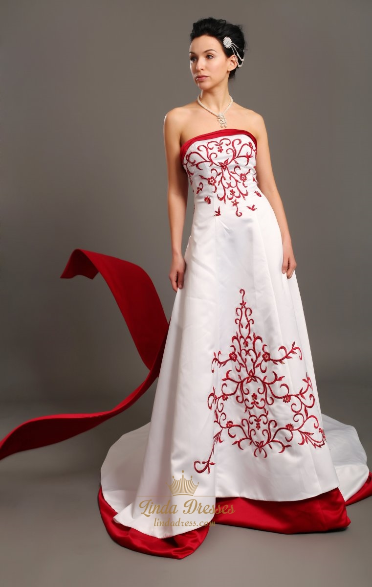 White A-Line Strapless Satin Wedding Dresses With Red Embroidery ...