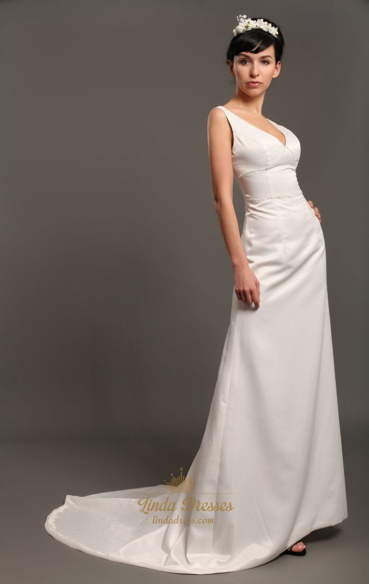 Ivory satin v neck sleeveless sheath wedding dresses with for V neck satin wedding dress