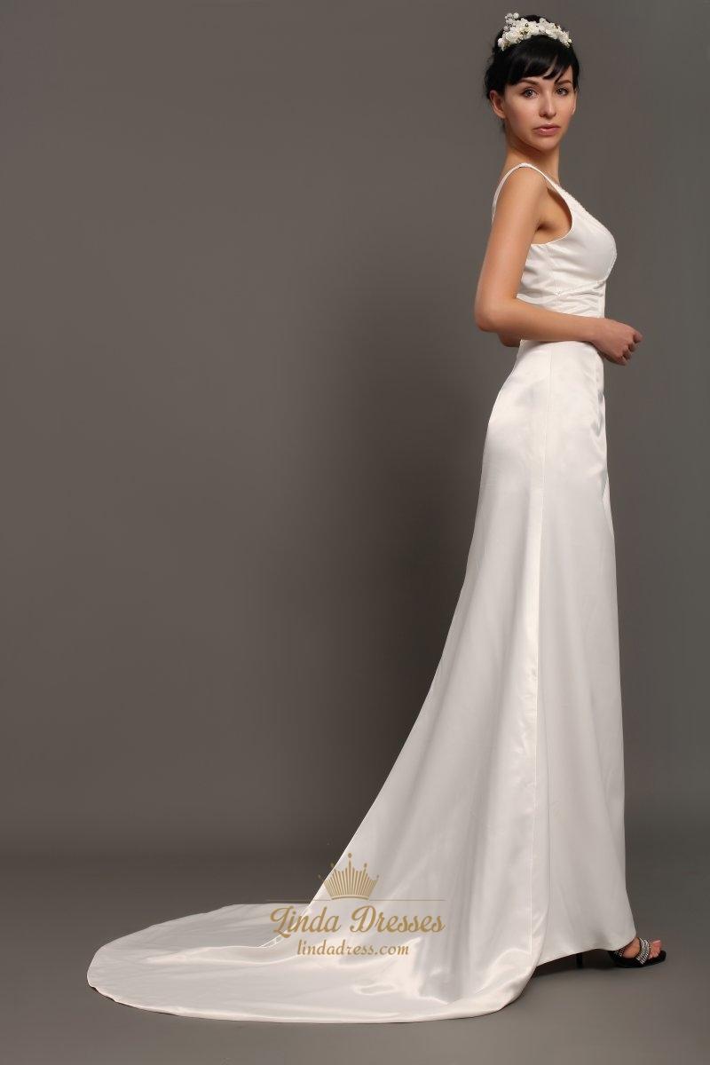 Ivory satin v neck sleeveless sheath wedding dresses with for Ivory satin wedding dress