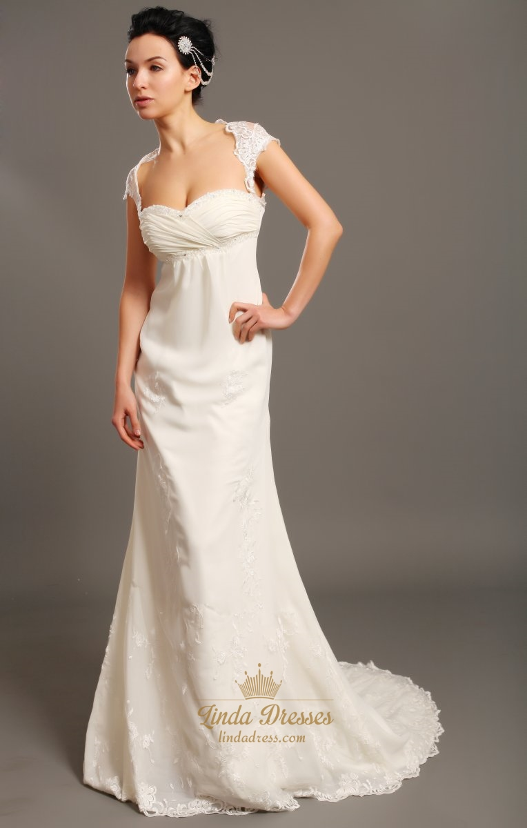 Ivory lace mermaid sweetheart empire wedding dresses with for Ivory lace wedding dress with sleeves