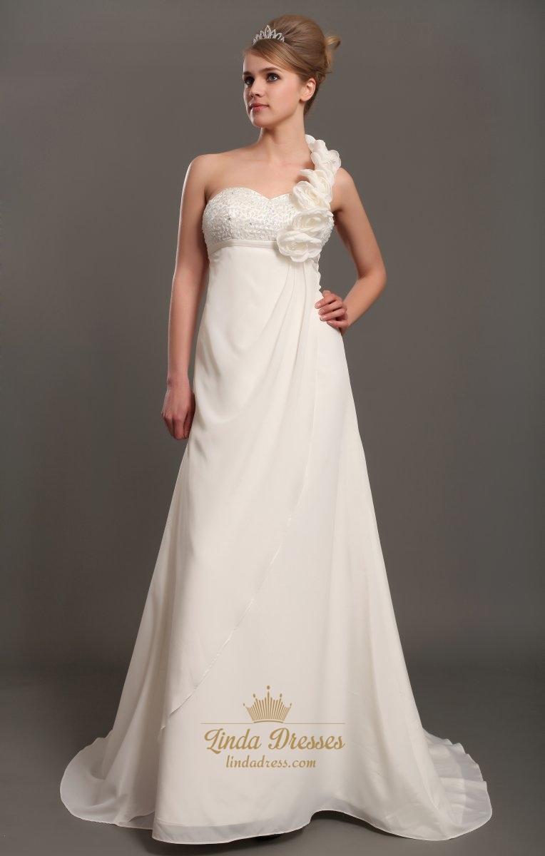 Shoulder one ivory wedding dresses best photo