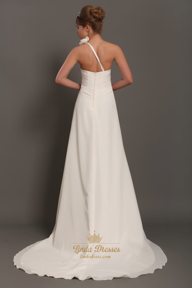 Ivory one shoulder flower strap draped wedding dress with for Wedding dresses one strap