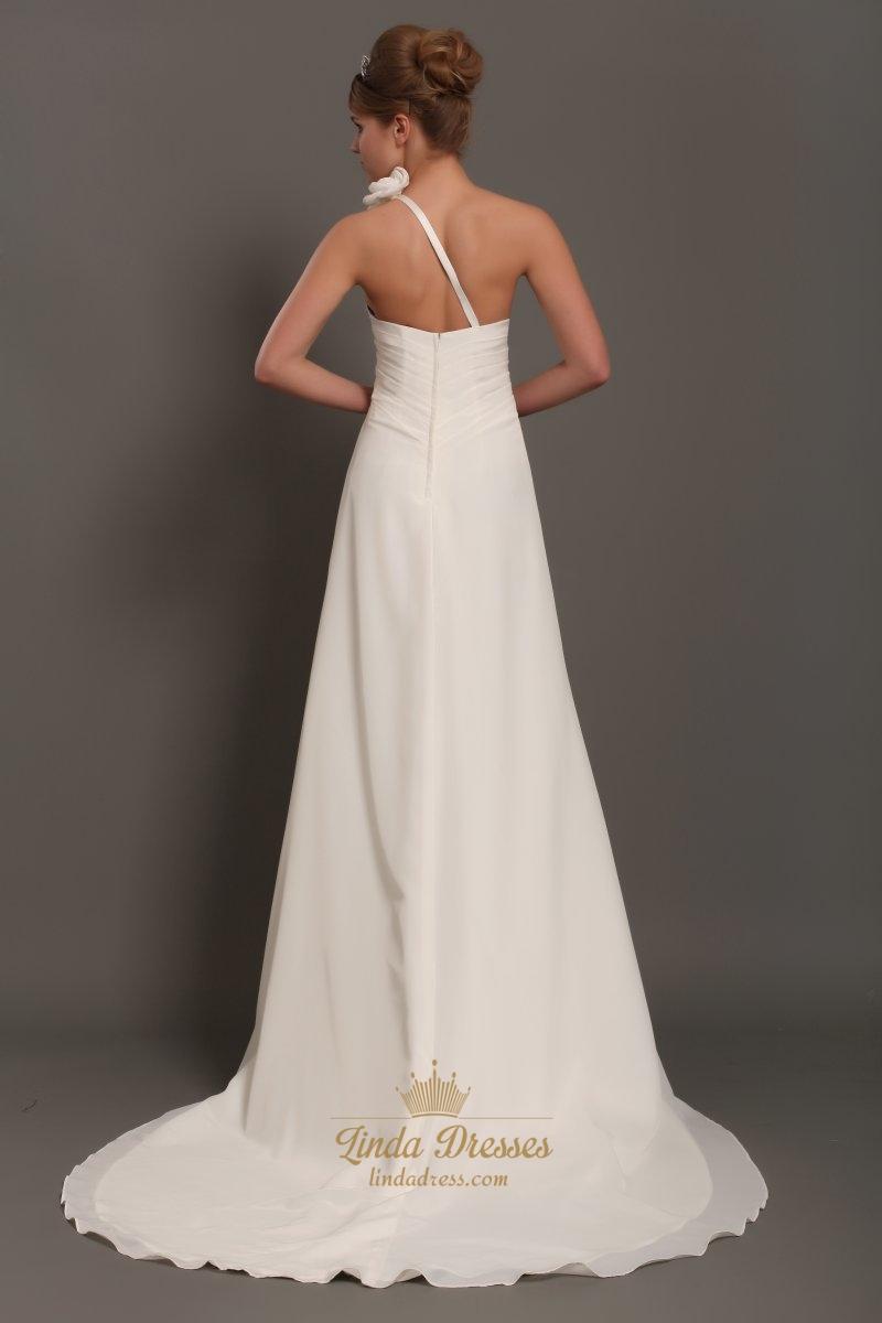 Ivory one shoulder flower strap draped wedding dress with for One strap wedding dress