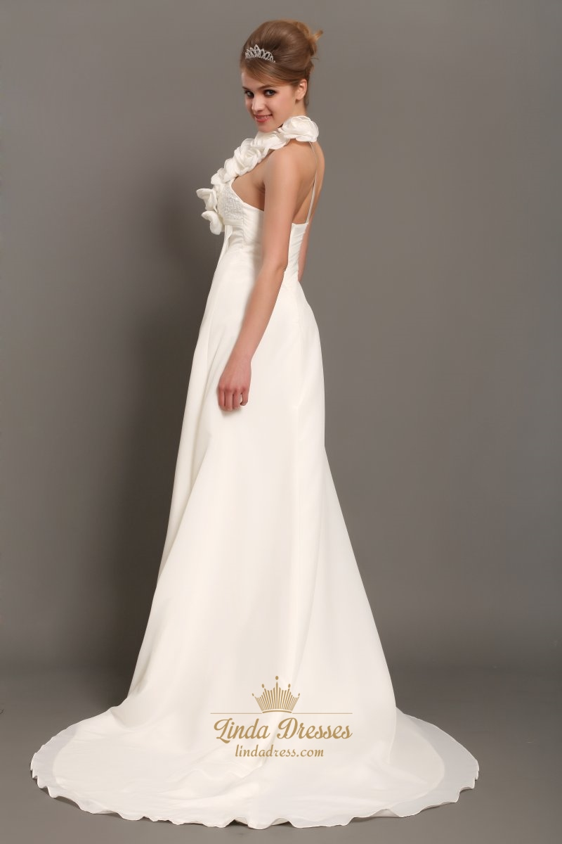 Ivory One Shoulder Flower Strap Draped Wedding Dress With Beaded Empire Lin