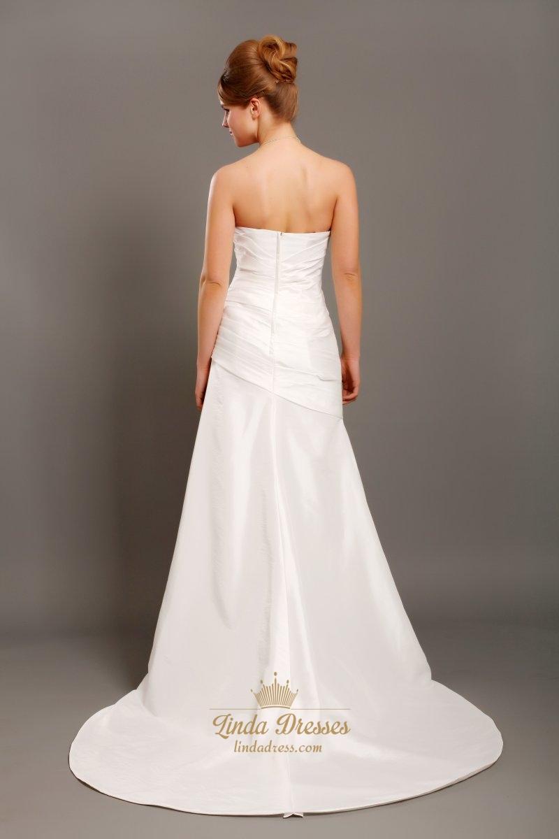 Ivory taffeta strapless mermaid wedding dress with beaded for Ivory strapless wedding dress