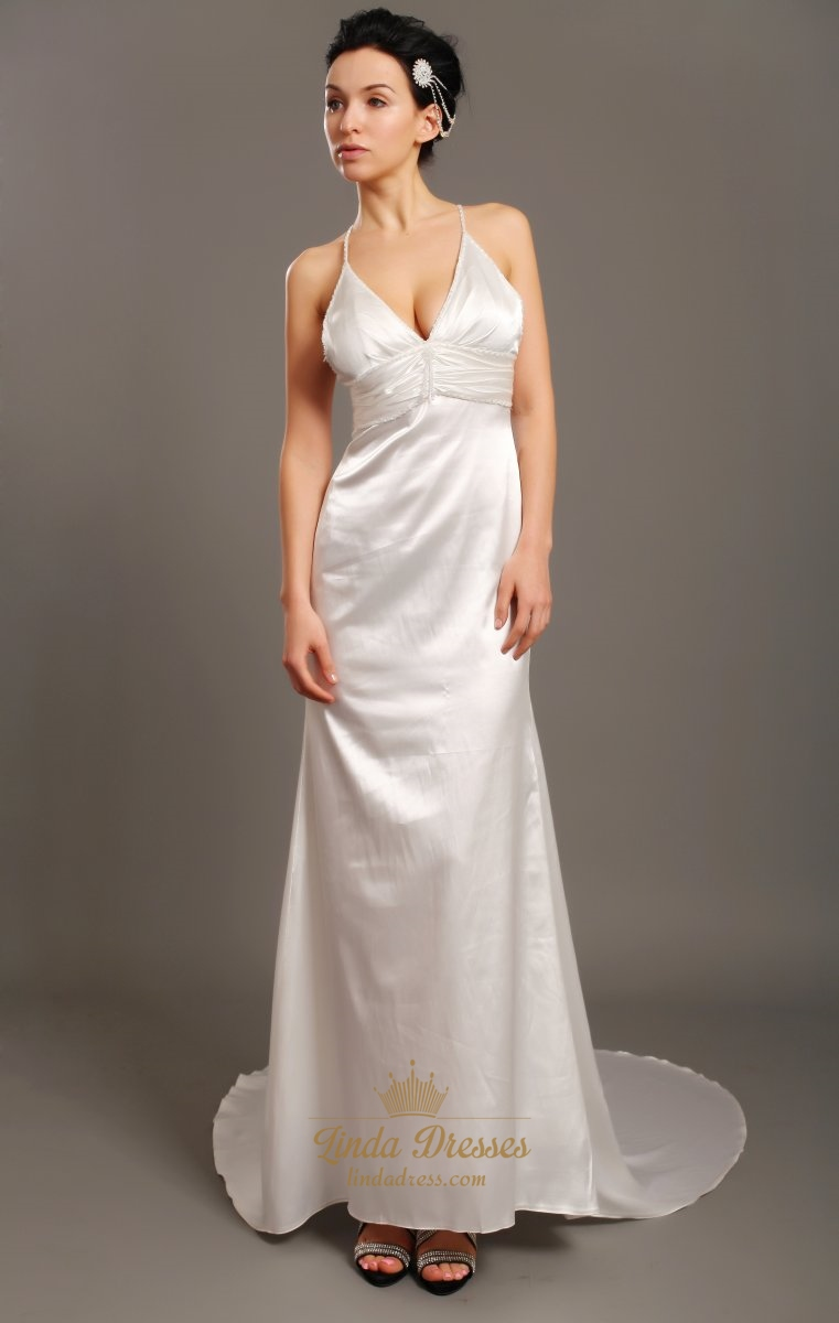 Ivory V Neck Satin Spaghetti Strap Beach Sheath Wedding Dress With ...