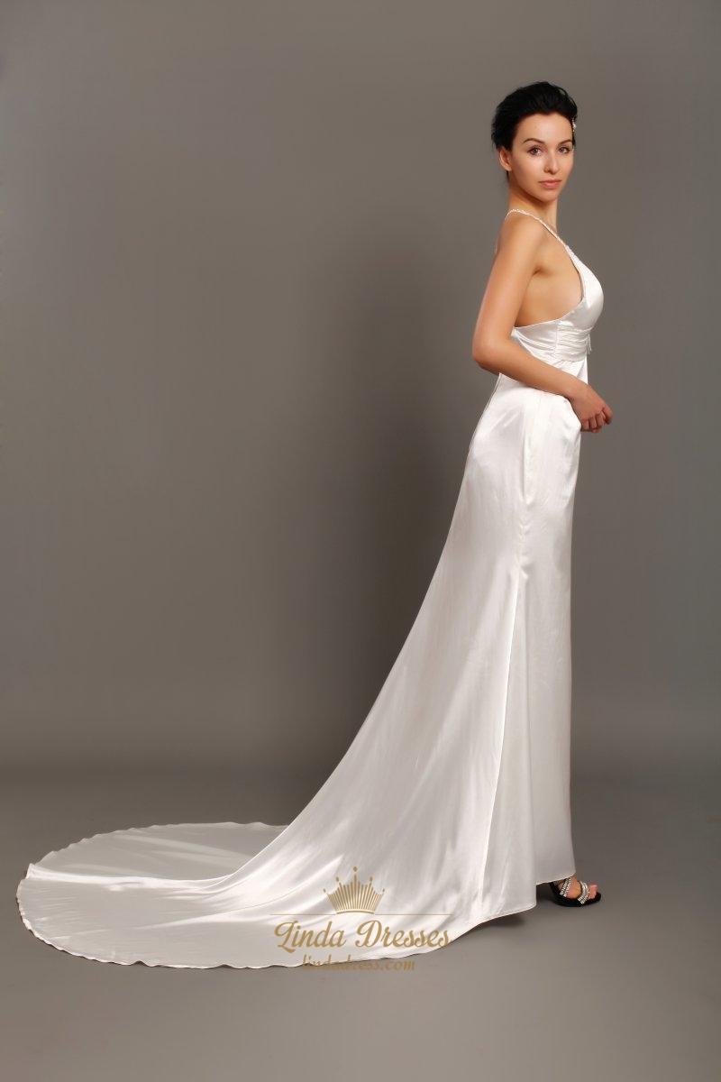 Ivory v neck satin spaghetti strap beach sheath wedding for Sheath v neck wedding dress