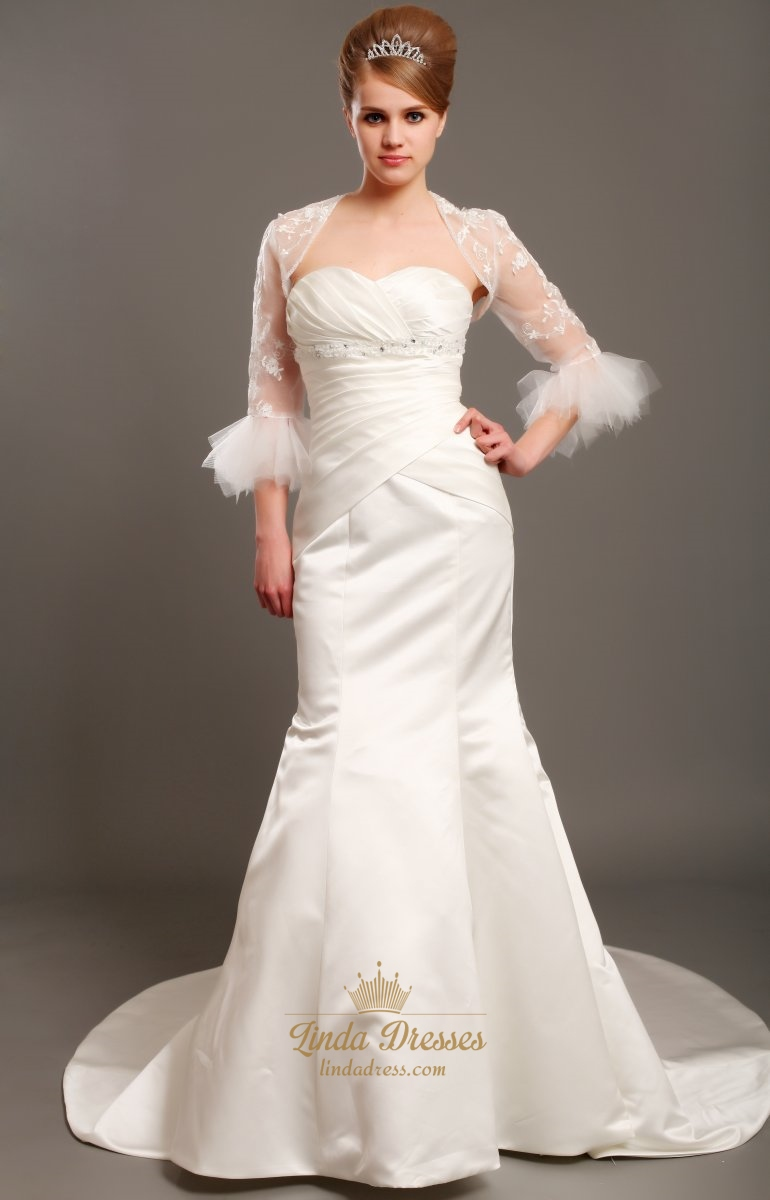Ivory Sweetheart Strapless Mermaid Satin Wedding Dress With Lace ...