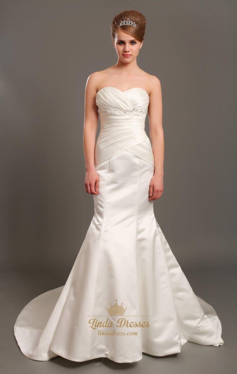 One Shoulder Flower Strap Wedding Dress   Linda Dress