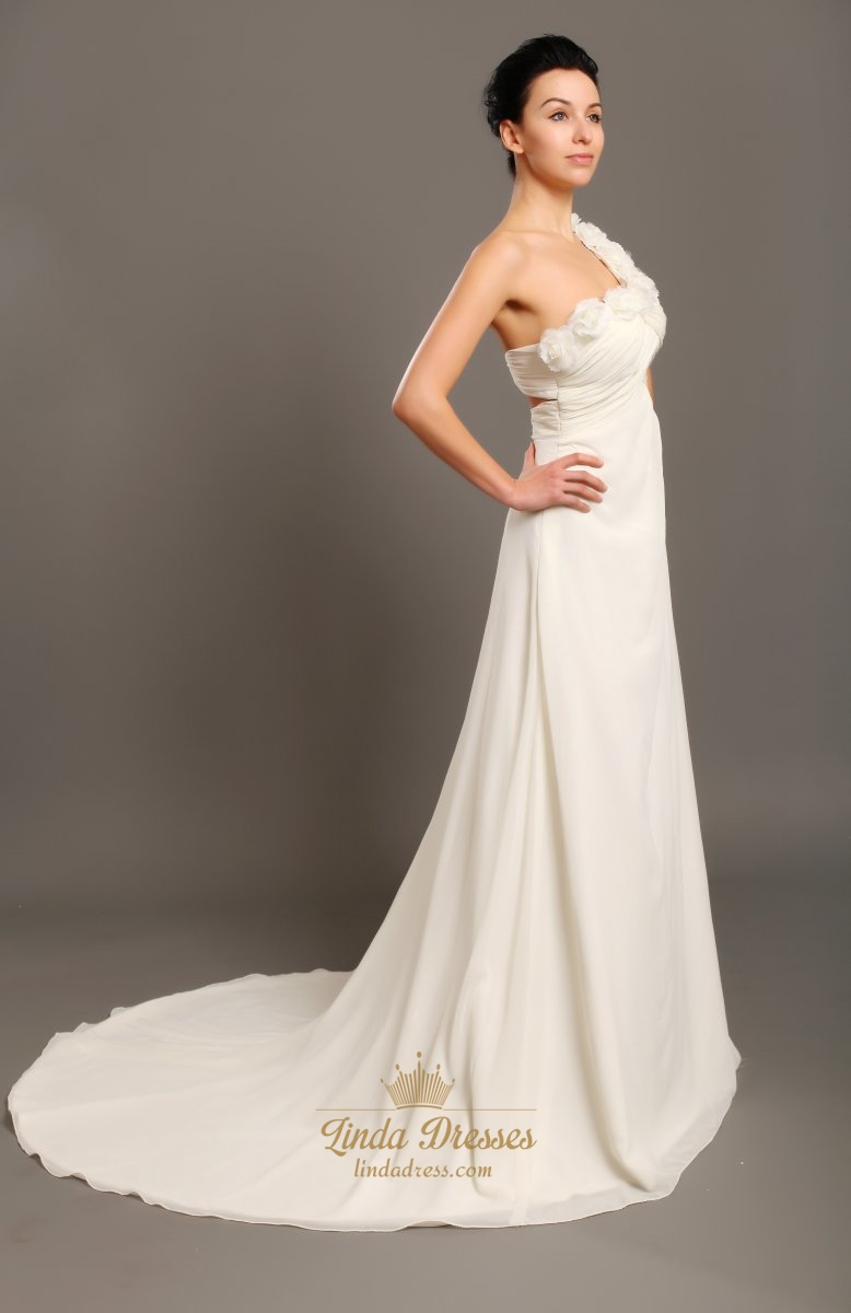 Shoulder one ivory wedding dresses