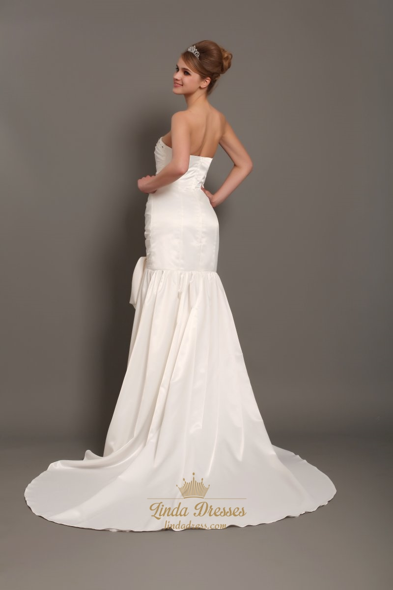 Ivory strapless mermaid beaded neckline wedding dresses for Strapless wedding dresses with long trains