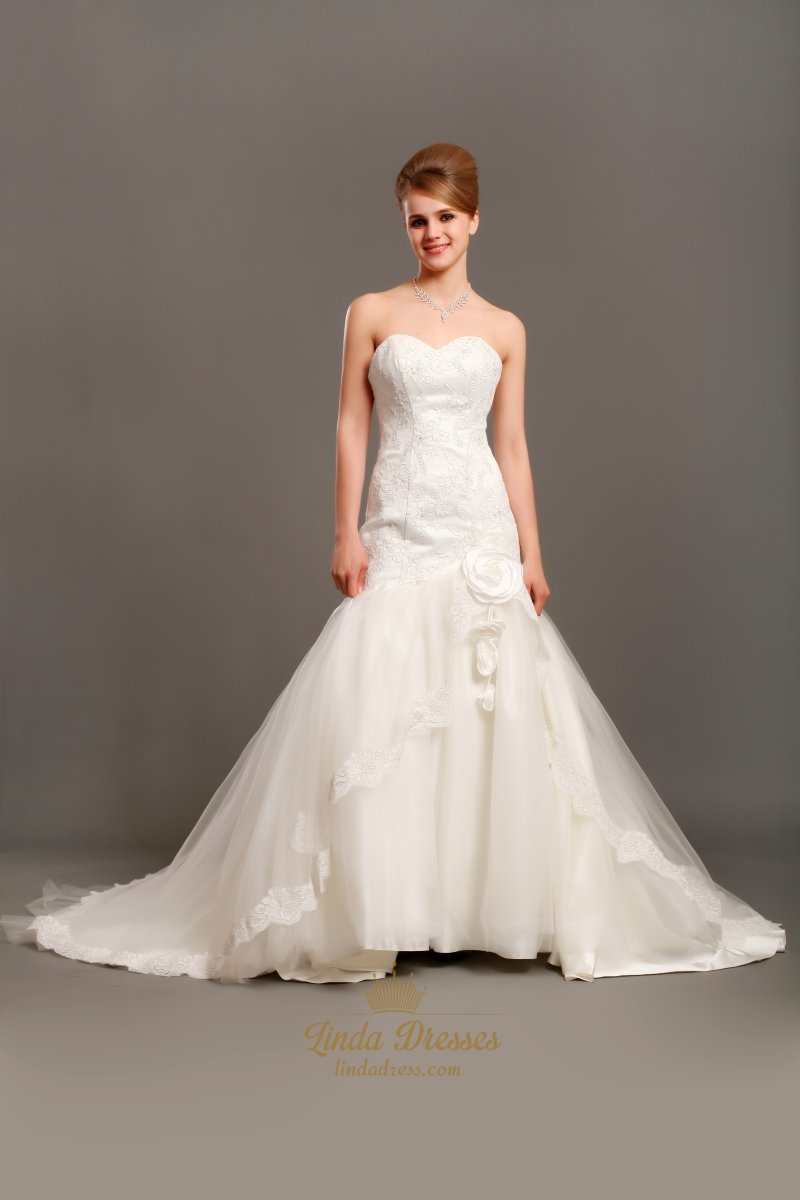 Ivory Mermaid Lace Bodice Tulle Skirt Wedding Dresses With Flowers ...