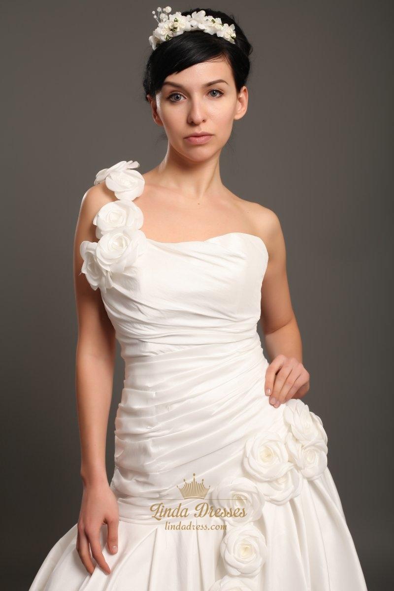 2019 year style- Shoulder one ivory wedding dresses