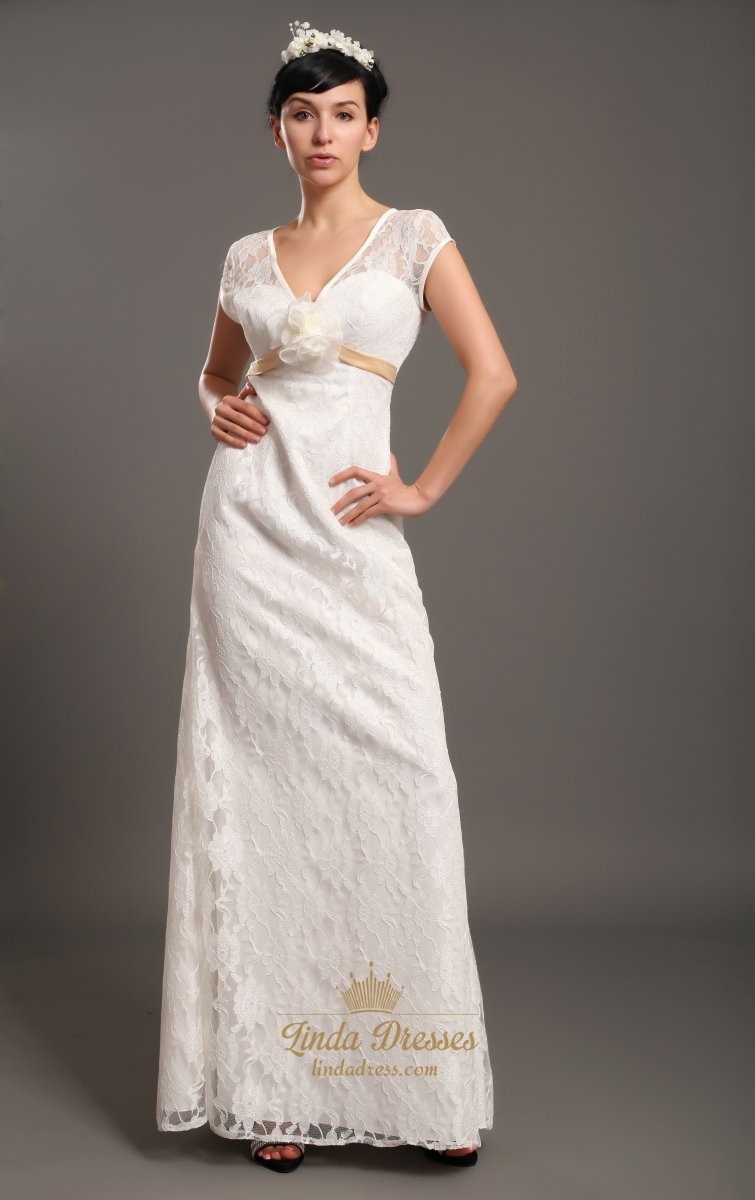 Ivory Lace V Neck Empire Waist Cap Sleeves Wedding Dresses Flower ...