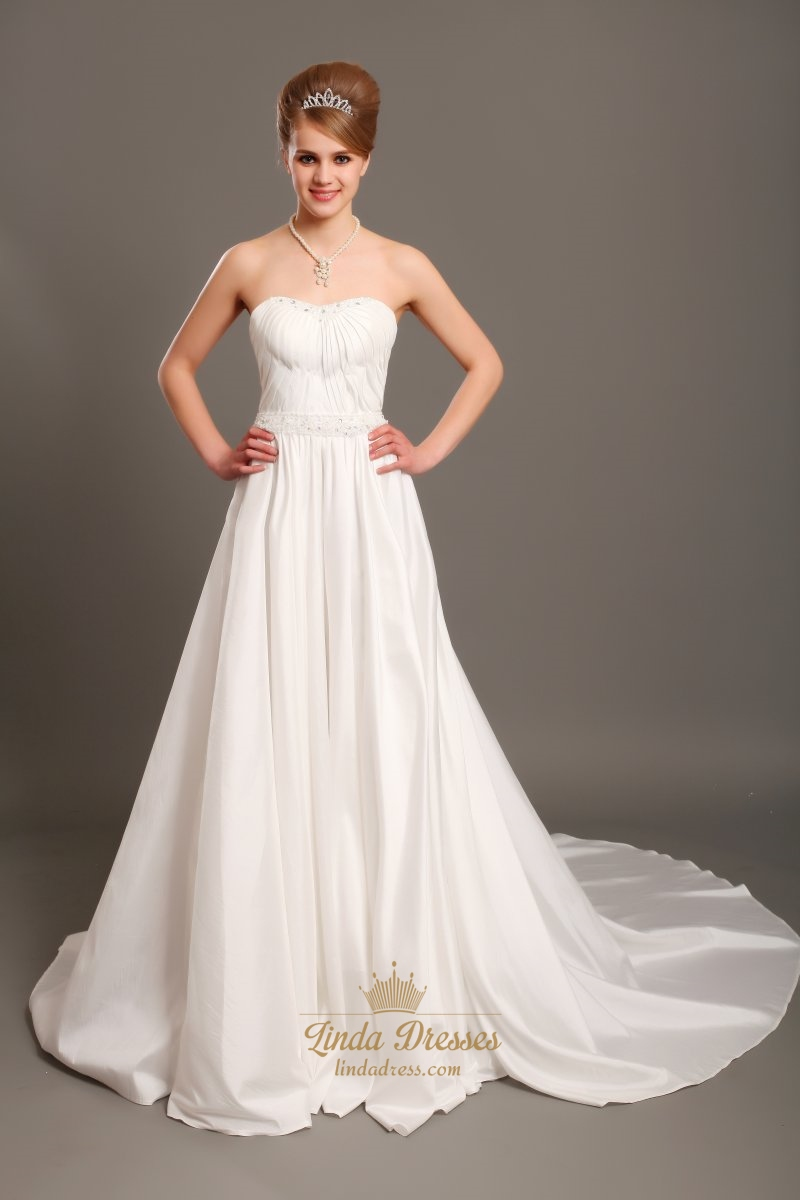 Ivory a line strapless chapel train taffeta wedding for Strapless taffeta wedding dress
