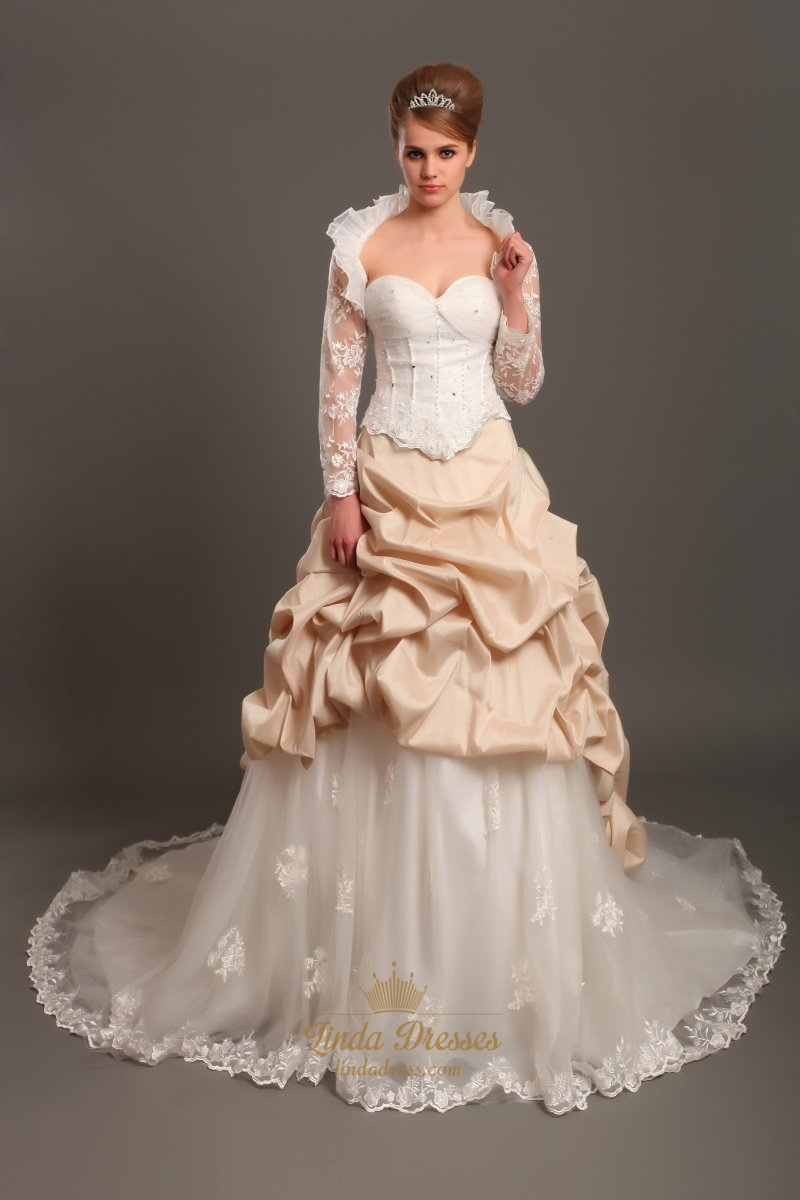 Ivory And Champagne Sweetheart Pick Up Wedding Dress With