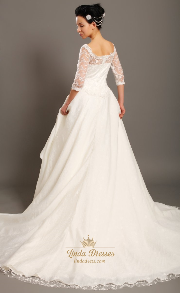 Ivory Off The Shoulder Taffeta Lace Top Wedding Dress With