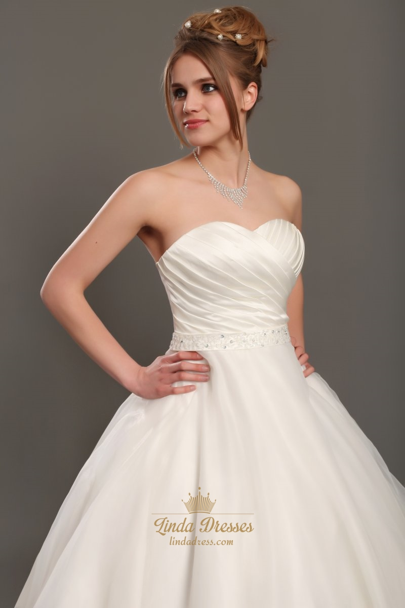 Ivory sweetheart ball gown organza wedding dress with for Wedding dress with waistband