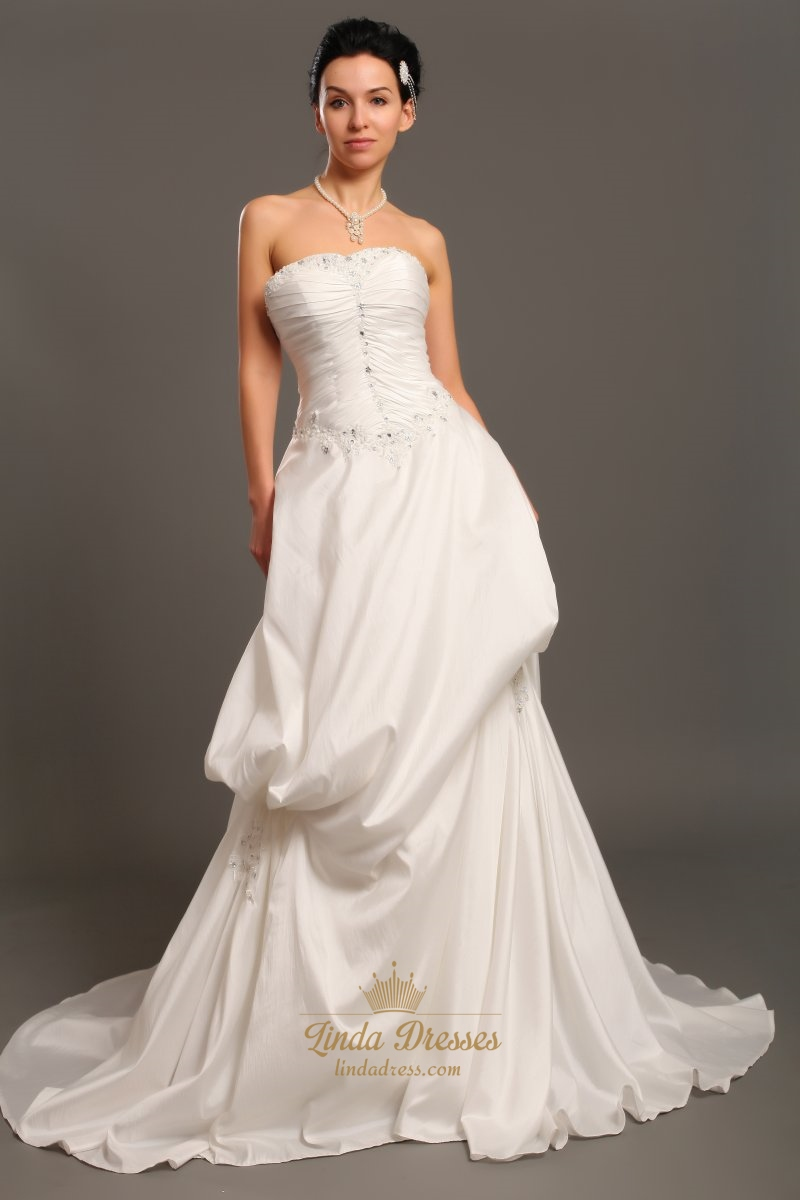 Ivory strapless a line taffeta pick up wedding dresses for A line taffeta wedding dress