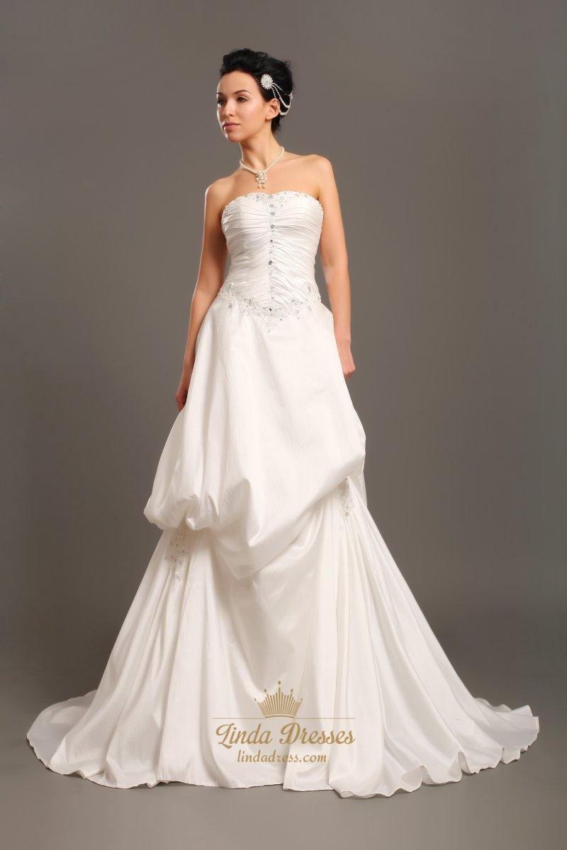Taffeta Strapless Trumpet Wedding Dresses With Beaded Lace : Ivory strapless a line taffeta pick up wedding dresses
