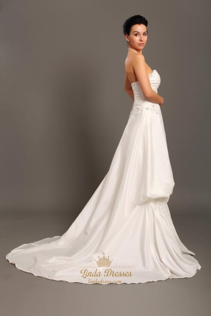 Ivory strapless a line taffeta pick up wedding dresses for A line ivory wedding dress