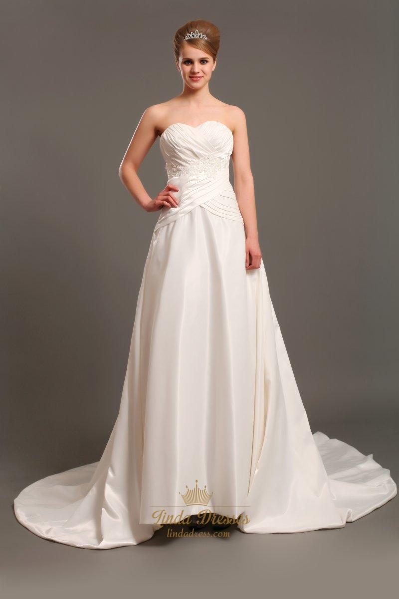 Ivory Taffeta Strapless Dropped Waist Wedding Dresses With Applique ...