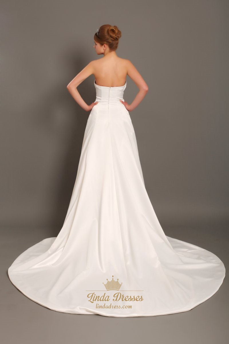 Ivory Taffeta Strapless Dropped Waist Wedding Dresses With