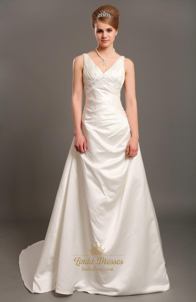 Ivory Elegant A Line V-Neck Empire Waist Wedding Dresses With ...