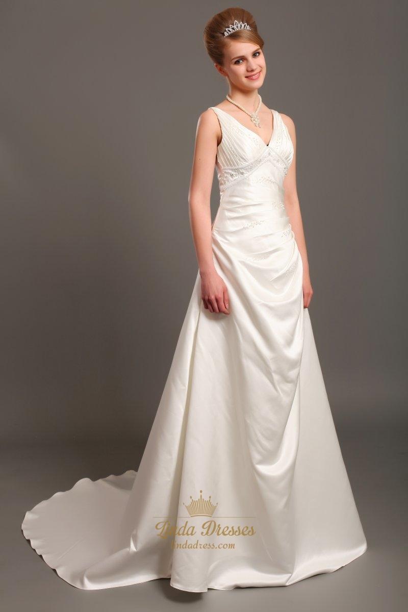 Ivory Elegant A Line V Neck Empire Waist Wedding Dresses