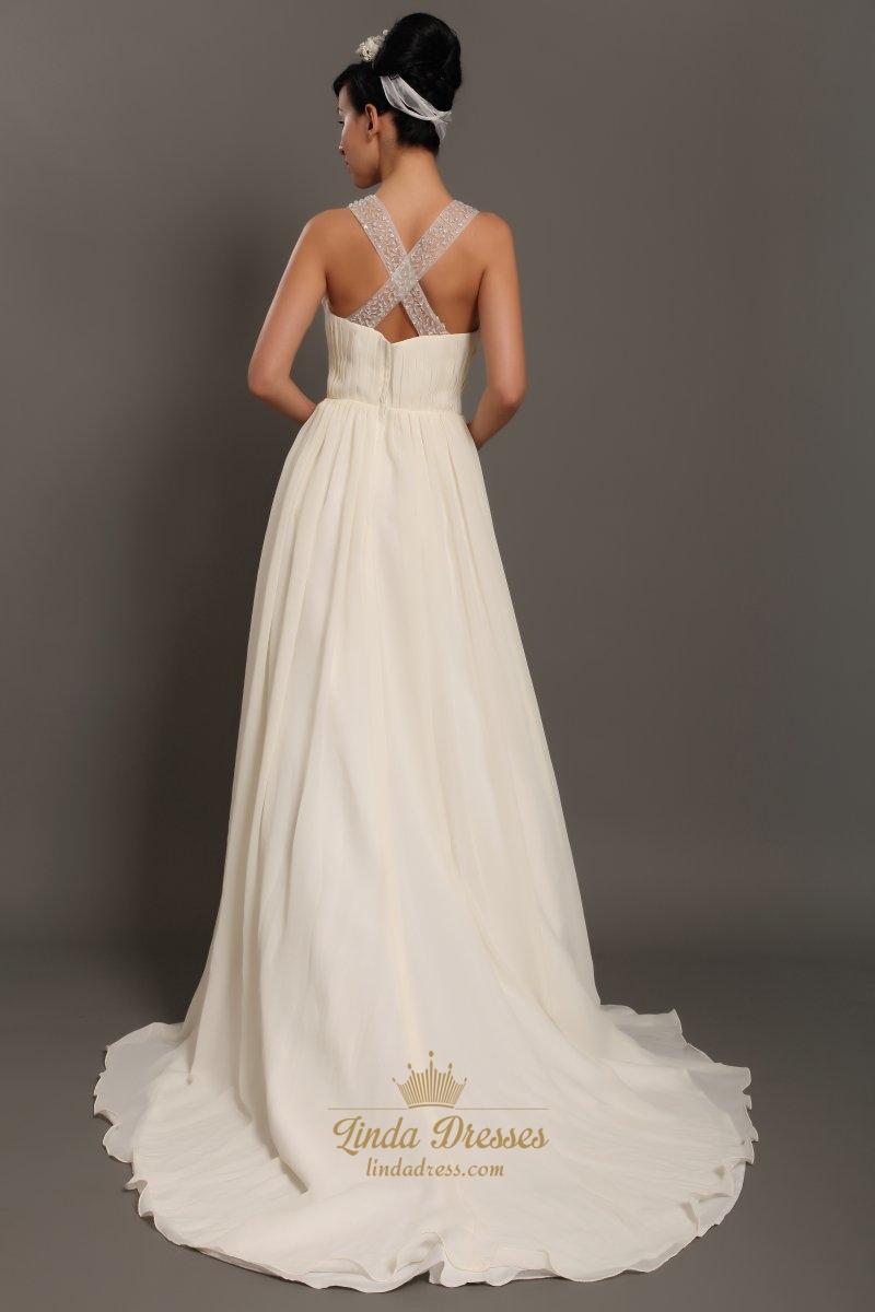 Ivory chiffon beach beaded a line wedding dresses with for Chiffon wedding dresses for beach wedding