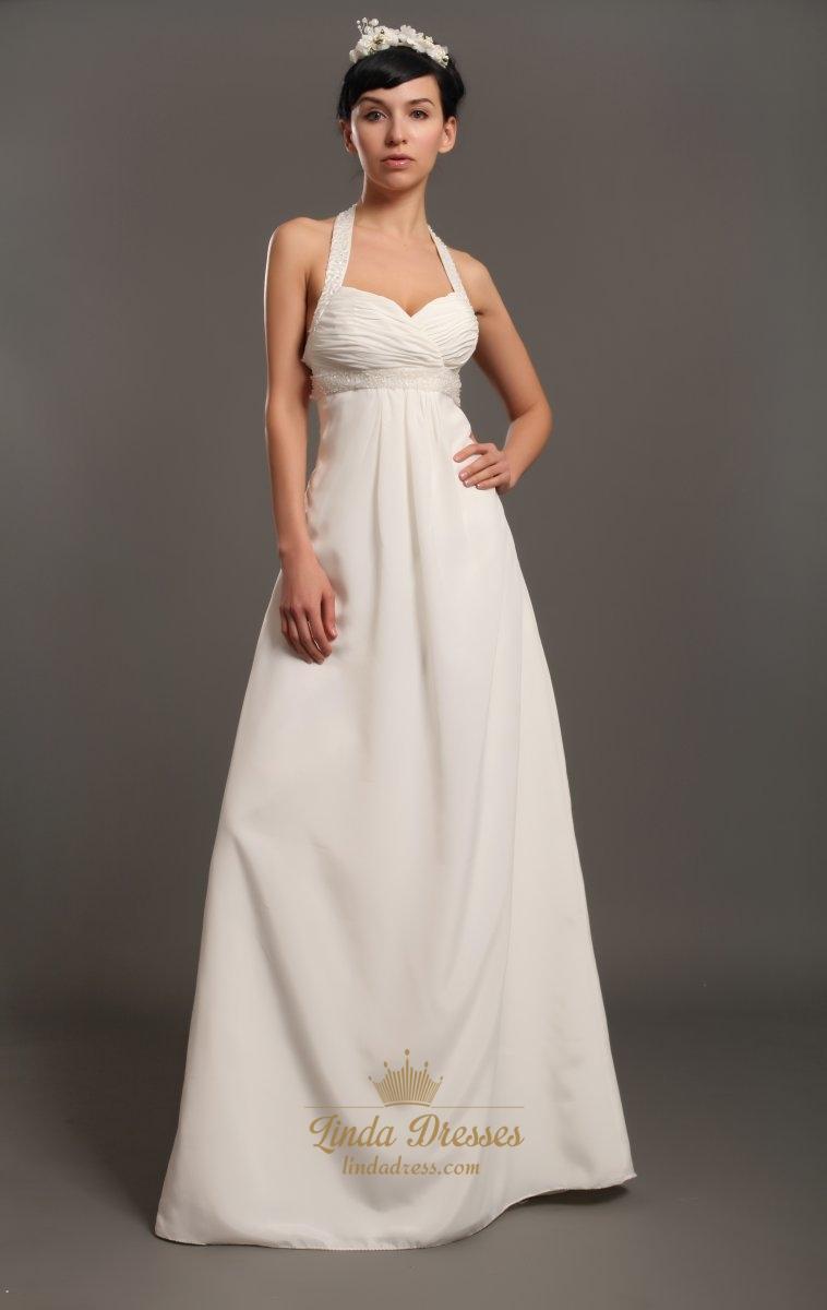 Ivory Halter Neck Empire Waist Chiffon Wedding Dresses