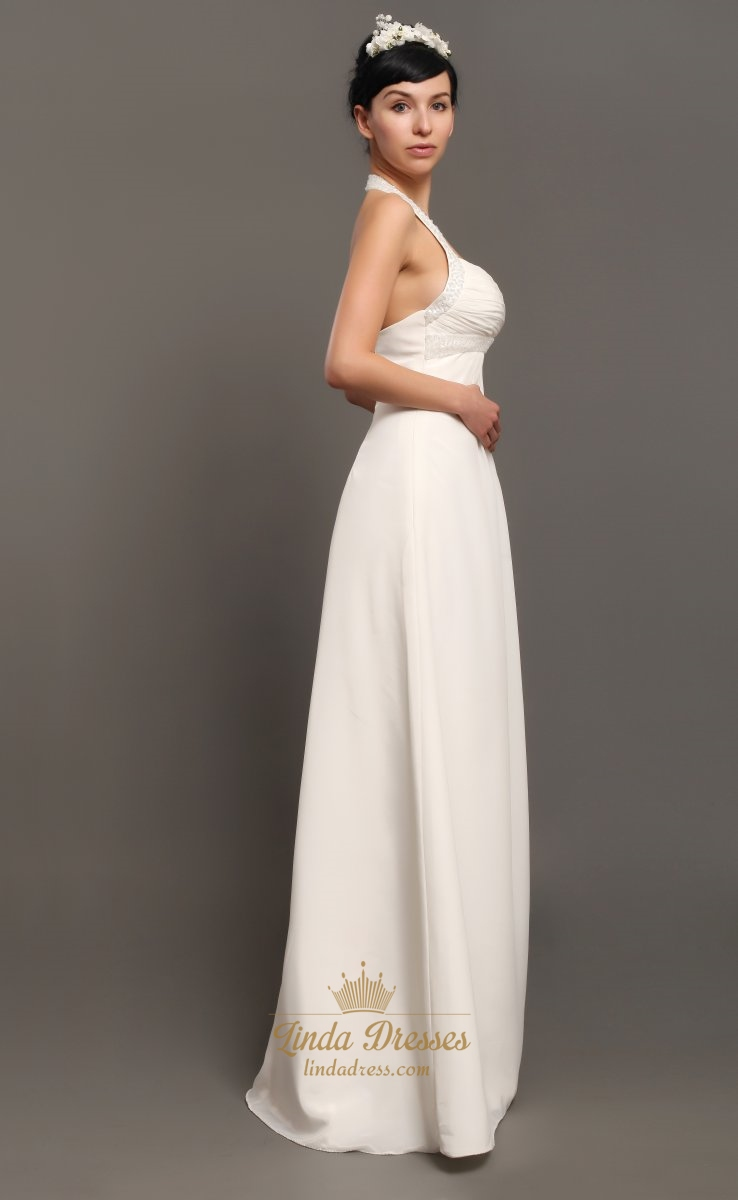 Ivory Halter Neck Empire Waist Chiffon Wedding Dresses With Beading ...