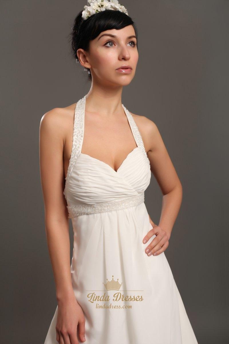 Ivory halter neck empire waist chiffon wedding dresses for Wedding dresses empire waist