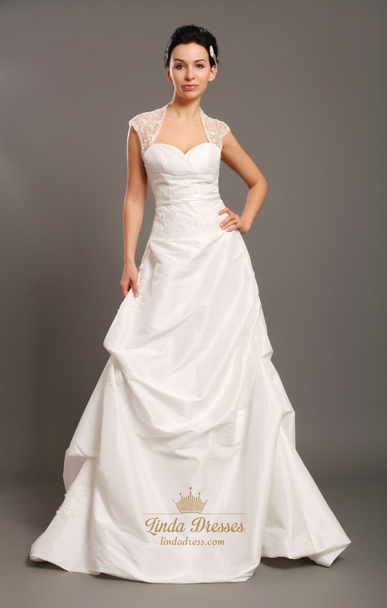 Ivory Taffeta Open Back Cap Sleeve Wedding Dress With Beaded Lace ...