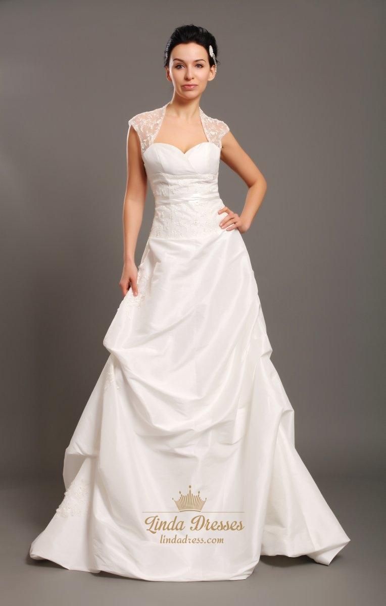 Ivory taffeta open back cap sleeve wedding dress with beaded lace ivory taffeta open back cap sleeve wedding dress with beaded lace inset junglespirit Gallery